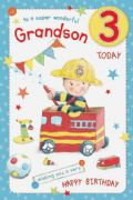 Grandson Age 3 Birthday Card